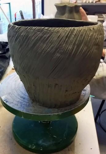 vaso ceramica, tecnica del colombino
